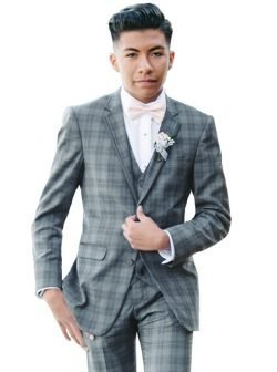 Grey Plaid Tuxedo with Matching Vest and Trousers